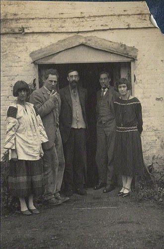 Oliver Strachey - Lady Ottoline Morrell (1873-1938), vintage snapshot print/NPG Ax141540. Dora Carrington; Ralph Partridge; Lytton Strachey; Oliver Strachey; Frances Catherine Partridge (née Marshall), 1923