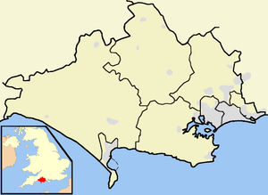 Lytchett Bay - Map of Dorset with Lytchett Bay southeast of the centre.