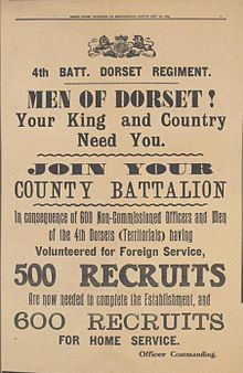 Territorial Force recruitment poster of September 1914
