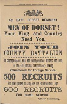 Territorial Force recruitment poster of September 1914