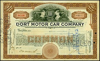 Dort Motor Car Company - Share of the Dort Motor Car Company, issued 25. April 1922