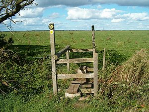 English: Double stile. On the Staffordshire Wa...