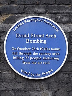 Druid street arch bombing. on october 25 1940 a bomb fell through the railway arch