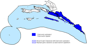 Dubrovnik subdialect - Image: Dubrovnik subdialect map