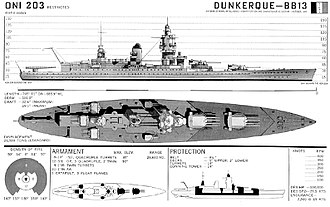 Dunkerque-class battleship - Dunkerque October 1942 print created by the Office of Naval Intelligence for recognition purposes.