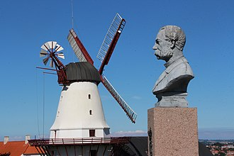 Battle of Dybbøl - Historic Dybbøl Mill with bust of King Christian IX