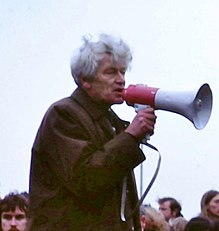 E P Thompson at 1980 protest rally (cropped).JPG