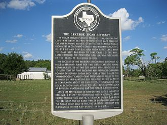 Eagle Lake, Texas - Image: Eagle Lake TX Sugarcane Marker
