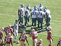Eagles in huddle at Philadelphia at SF 10-12-08 4.JPG