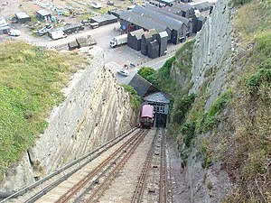 East Hill Cliff Railway - View down the line, also showing the distinctive net shops on the Stade