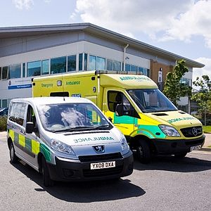 East Midlands Ambulance Service - Two of the vehicles operated by the East Midlands Ambulance Service NHS Trust