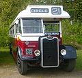 Edinburgh Corporation Transport preserved bus 739 Guy Arab Mk III Metro-Cammell ESG 652 (1948), Madder and White livery, Scottish Vintage Bus Museum, 16 May 2010 (1).jpg