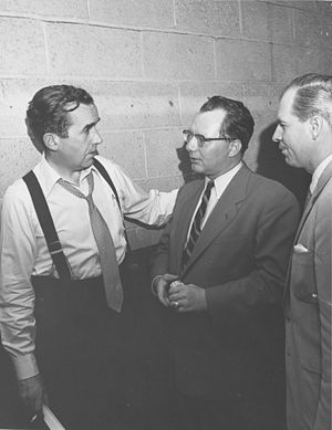 Bill Downs - Downs (center) with Edward R. Murrow and Ron Cochran in 1956
