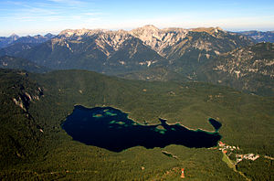 Ammergau Alps - View from the Zugspitze over the Ammergau Alps. In the foreground is the Eibsee lake