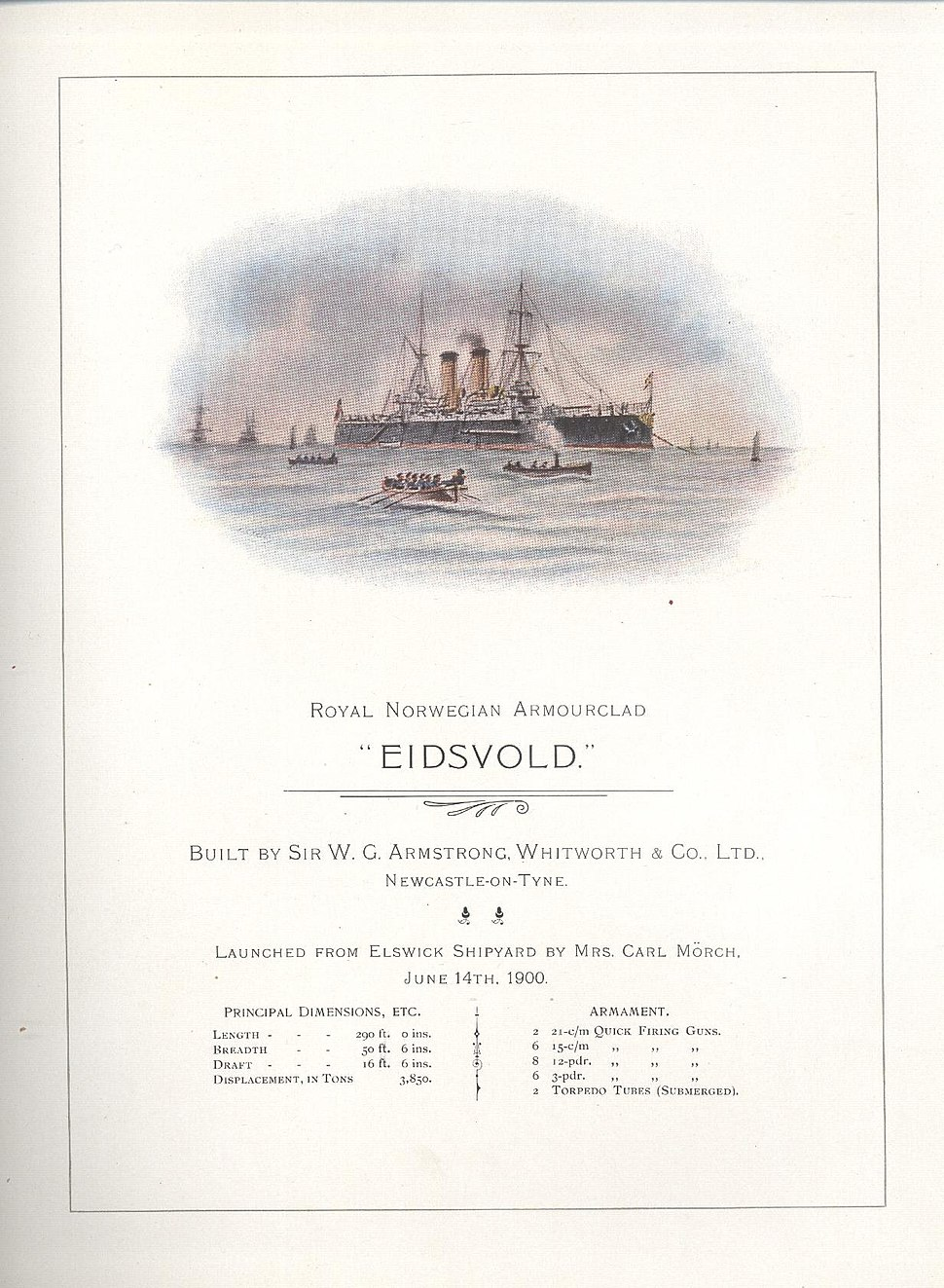 Eidsvold launch card June 14th 1900