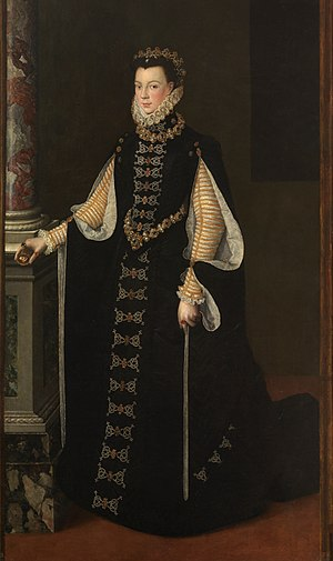 1550–1600 in Western European fashion - Spanish fashion: Elizabeth of Valois, Queen of Spain, wears a black gown with floor-length sleeves lined in white, with the cone-shaped skirts created by the Spanish farthingale, 1565.
