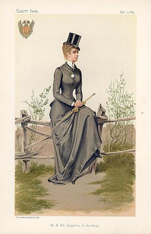 Riding habit - Elisabeth of Bavaria, Empress of Austria, in a riding habit, 1884
