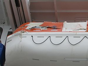 Emerald Princess - Image: Emerald Princess lifeboat damage