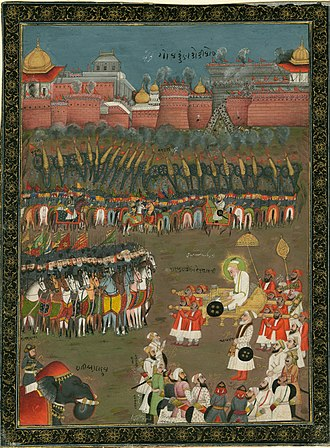 Siege of Golconda - Aurangzeb during the siege of Golconda, 1687 (Hyderabad, India)