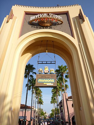 Minions (film) - Universal Studios Florida's entrance with Minions - July 13, 2015