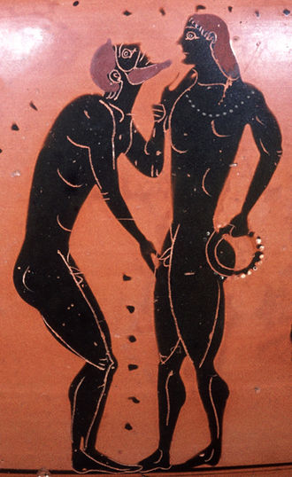 Traditional pederastic courtship scene on an Athenian black-figure amphora from the 5th century B.C. Erastes eromenos Staatliche Antikensammlungen 1468.jpg