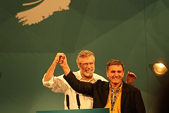 Gerry Adams - Gerry Adams with Euclid Tsakalotos at the Sinn Féin ardfheis in March 2015