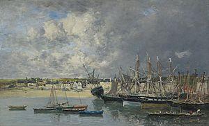 Eugène Boudin - Bateaux à l'Ancre dans le port, Portrieux.jpg