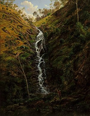 Waterfall, Strath Creek - Image: Eugene von Guerard Waterfall, Strath Creek, 1862