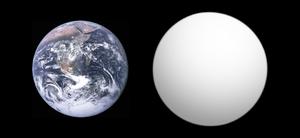 Kepler-78b - Size comparison of Kepler-78 b with Earth