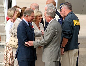 Camilla, Duchess of Cornwall - Prince Charles and Camilla are greeted by Federal Emergency Management Agency officials as they arrive to tour the damage created by Hurricane Katrina in New Orleans, November 2005
