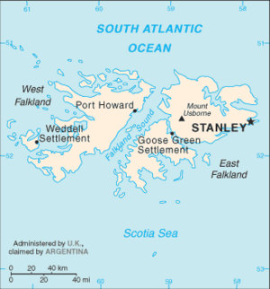 Outline of the Falkland Islands - An enlargeable basic map of the Falkland Islands