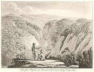 Falls of the Rhydol and Monach sic, at the Devil's Bridge, Cardiganshire