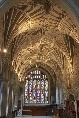 """Cecily Bonville, 7th Baroness Harington - Fan vaulted ceiling of the north aisle (""""Dorset Aisle"""") of Ottery St Mary Church, built by Cecily Bonville, Marchioness of Dorset. She also built the North Porch which displays sculpted Stafford Knots, a heraldic badge of her second husband"""