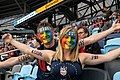 Fans painted with Equal Pay and rainbow flags (48675274007).jpg