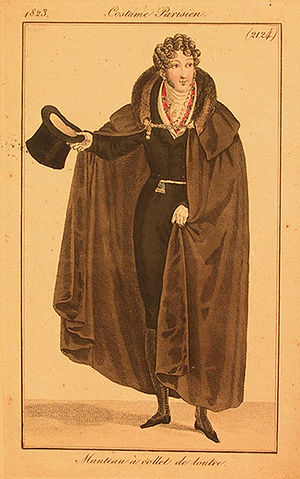 Cloak - Evening cloak or manteau, from Costume Parisien, 1823