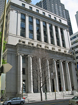 The façade of the old Federal Reserve Bank of ...