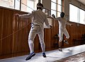 Fencing in Greece. The training at Athenaikos Fencing Club. Stamatis Koutsouflakis (left) and Aris Koutsouflakis (right).jpg