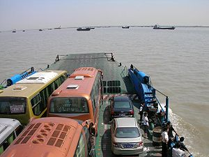 Nantong - Ferry on Yangtze River near Nantong