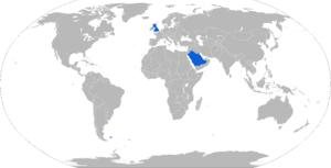 De Havilland Firestreak - Map with Firestreak operators in blue