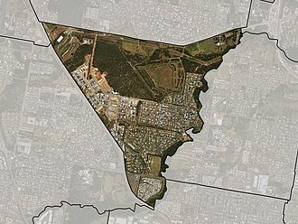 Fitzgibbon, Queensland - Satellite imagery of Fitzgibbon with suburb boundary shown.