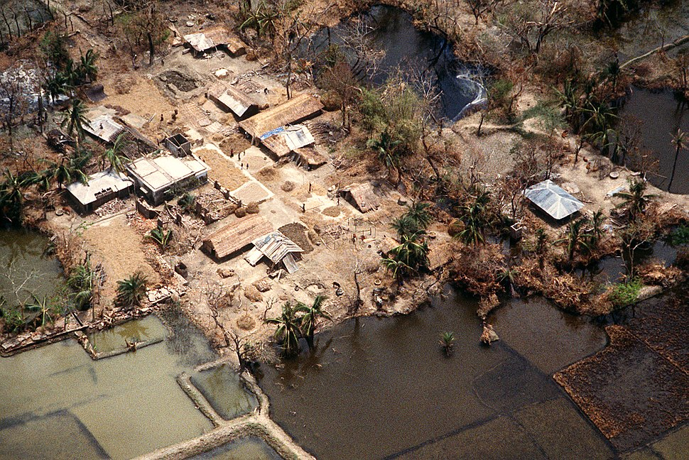 Flooded village after 1991 cyclone
