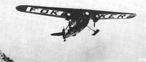 Richard E. Byrd - The Fokker F.VII of Byrd and Bennett in flight.