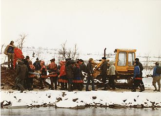Alta controversy - Blockade against Alta hydroelectric project on traditional Sami territories. The project was completed in 1987.
