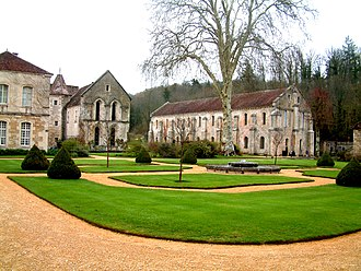 Abbey of Fontenay - The church and convent building seen from the gardens.
