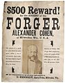For the arrest of the forgers Alexander Cohen, of Milwaukee, Wis, USA. (7976721923).jpg