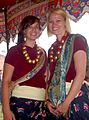 Foreign young ladies in Kirati traditional costume, Tudhikel Nepal 2009.jpg
