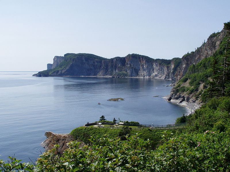 high cliffs and forest at Forillon National Park, special area in Canada