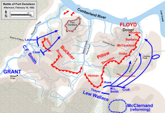 Lew Wallace - Map showing Wallace's counterattack at Fort Donelson (1862)
