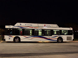 Fort Worth T New Flyer C40LF 557 at night.jpg
