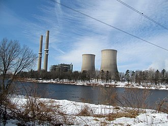 Foul Rift, New Jersey - View of Martins Creek Power Station and the Delaware River from the south end of Foul Rift